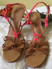 Women's Authentic Coach Brown Pink Genuine Leather High Heels Shoes Size 8B