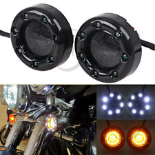 Motorcycle Fire Ring Bullet LED White Amber Turn Signals Lights For Harley FLTR