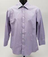 Ted Baker Men's Dress Shirt Size 16 - 32 / 33 Purple Green Bronze Stripes