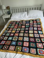 Vintage  style large Granny Square crochet blanket/throw