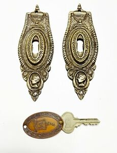 Large vintage brass escutcheon key holes pair French style & Chicago Key fob