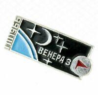 Badge Soviet Space Rocket Pin Brass Enamel USSR Venera-3 spacecraft I.III.1966