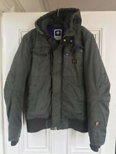 G-STAR RAW DENIM Mens XL quilted hooded grey/taupe designer coat!