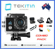 TEKcam 4K 30fps WI-FI Sports Action Camera  + GoPro Go Pro Fit Accessories COMBO
