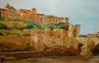 Framed Painting On Panel - European Or Middle Eastern City & Bridge - Sandres