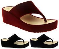 Womens Ladies Dunlop Velvet Toe Post Platform Wedged Sandals Size 3 4 5 6 7 8