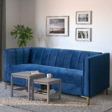 """Velvet Square Upholstered Sofa Armrest 71"""" Wide Living Room Couch Navy Blue Deco"""