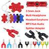 3.5mm Jack Headphone Headset Earphone MP3 Hub Audio Splitter Adapter Convertor