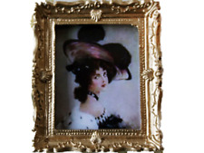Dolls House Victorian Lady in Hat Painting Gold Frame Miniature Accessory