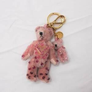 AUTH PRADA KEYRING BAG CHARM KEY HOLDER PINK BEAR GOLD METAL /S