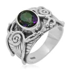 Mystic Topaz Sterling Silver Men's Ring Size 7.0 (2.1 cts)(D)