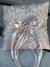 Blush Pink Wedding Engagement Ring Cushion Bearer Pillow Pearls Diamanté Feather