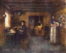 BELGIUM. Interior of a Farmhouse, Duinhoek 1908 old antique print picture