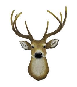 Zeckos Lifelike Faux 8 Point Buck Deer Head Bust Wall Mount Hanging 23 inch