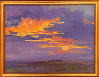 Southwestern Sunset, Original Oil Painting by Ron A. Cheek, Gold Frame 12x16