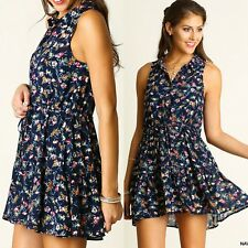 Umgee Dress Size XL S M L Navy Floral Sheer Lace Tunic Boho Womens Boutique New