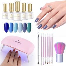 BORN PRETTY 16pcs/set UV Gel Nail Kit Blue UV Gel Polish LED Lamp Brush Kits