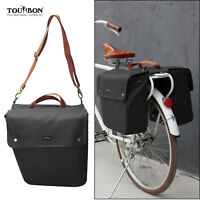 TOURBON Bike Double Panniers Rear Bag Saddle Seat Rack Market Pack Roll-Up Black