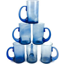 COPAVIC CANTEL Recycled Glass Hand Blown Sapphire Cobal Blue Mug Set 6 Guatemala