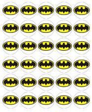 BATMAN LOGO EDIBLE WAFER CUPCAKE FAIRY CAKE TOPPERS DECORATIONS x 30