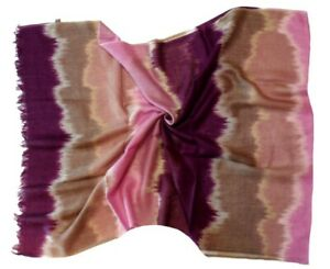 Purple Brown Abstract Design Long Fine Wool Scarf (A20)