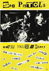 VINTAGE POSTER Punk Rock Music Sex Pistols Never Trust a Hippy Ad Print A3 A4