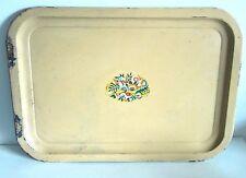 "Tan Metal Serving Lap Tray 14"" w Floral Decal Retro Vintage Mid century Free Sh"
