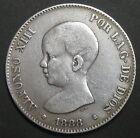 ESPAGNE - 5 PESETAS 1888 (1888) MP. .M.- ALPHONSO XIII - Argent - N°2