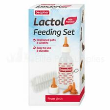Beaphar Lactol Feeding Set Puppy Kitten Wean Whelping Bottle Teats Kit