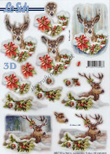 Deer At Christmas Die Cut 3D Decoupage Sheet Paper Crafts Card Making NO CUTTING