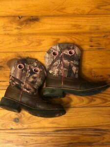 Ariat Fatbaby Boots Womens Size 8B Pink Camo Camouflage Brown Leather NICE