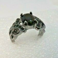 Women's Created Onyx Solitaire With Twist Accents Black Rhodium Ring Size 7 1/2