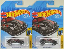 "2018 Hot Wheels: VOLKSWAGEN BEETLE ""Black"" All Metal - 2 Car LOT Set - CHECKMATE"