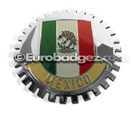 1-NEW Chrome Front Grill Badge Mexican Flag Spanish Bandera MEXICO MEDALLION GWR