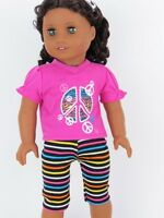 """Doll Clothes 18"""" Leggings T-Shirt Peace Sign Fits American Girl Dolls"""