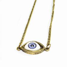 Long Bronze Scary Evil Eye Necklace - Kitsch Emo Steampunk Horror