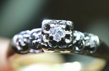 RARE Vintage Handcrafted Diamond Solitaire Yellow Gold Engagement Promise Ring 6