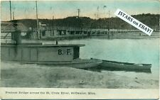 c. 1910 STILLWATER, MN, ST. CROIX RIVER PONTOON BRIDGE and BOAT POSTCARD