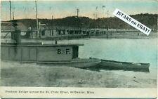 c. 1910 STILLWATER, MN, ST. CROIX RIVER PONTOON BRIDGE and BOAT POSTCARD