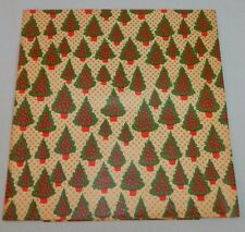 VINTAGE Wrapping Paper GIFT WRAP Christmas Trees MID CENTURY Red Green Gold