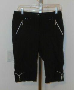 JAMIE SADOCK  Golf Cargo Shorts Sz 6 Black With SILVER ZIPPERED POCKETS
