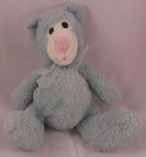 """Kellytoy 7"""" Teddy Bear Plush - Baby Blue w/ Bow - Seated Stuffed Animal"""