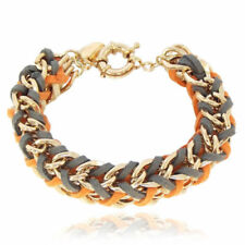 Gelbgold beschichtete Modeschmuck-Armbänder aus Leder für Damen