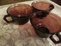 Vintage Purple Amethyst Coffee Tea Glass Cup Set of 3 ~ VERY NICE!