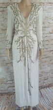 Vintage Oleg Cassini Black Tie Ivory Silk Beaded L/S Formal Evening Gown Size 4