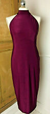 Boohoo Night Deep Red Stretch Backless Dress - Size 14 Evening Party New Year