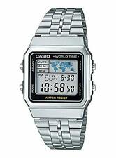 """New CASIO BASIC DIGITAL Watch """"World Map"""" A500WA-1 Stainless Silver From Japan"""