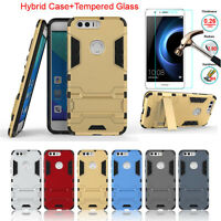 Hybrid Armor Stand Case Cover+Tempered Glass Screen Protector For Huawei Honor 8