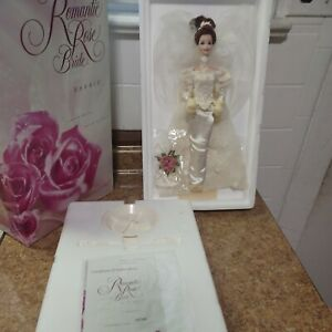 1995 Barbie Romantic Rose Bride Porcelain Doll Wedding Flower Mattel 14541