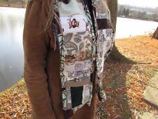 ReFuNk handmade hippie earthy patchwork & fleece scarf w/ flannel pockets Owls